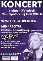XV edycja Misji Społecznej Hali Wola – Koncert laureatów